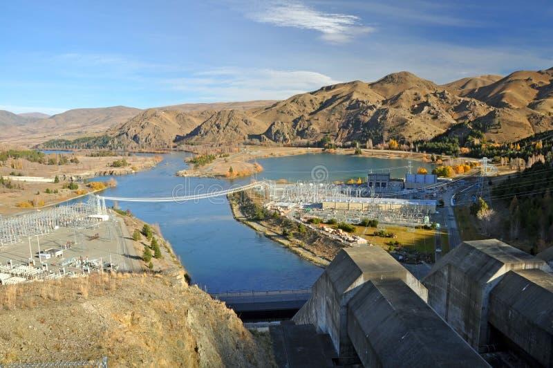 Penstocks da represa de Benmore & central eléctrica, Otago fotos de stock royalty free