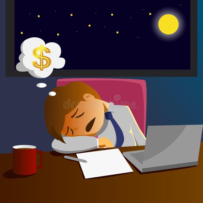 Pensyjnego mężczyzna pracujący nadgodziny i sen na biurku royalty ilustracja