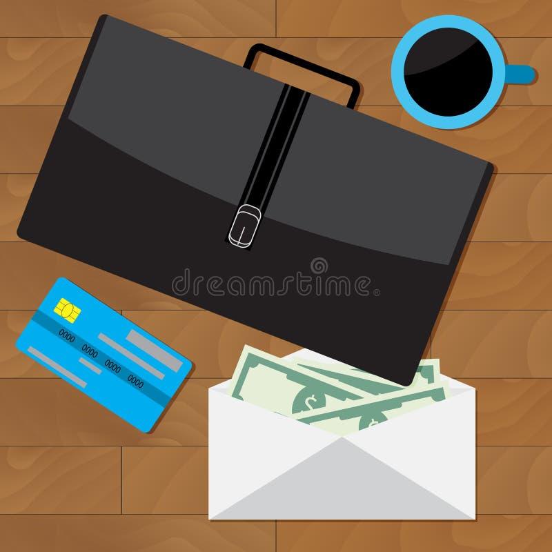 Pensyjny i płaca biznesowy pojęcia koszt stały styl royalty ilustracja