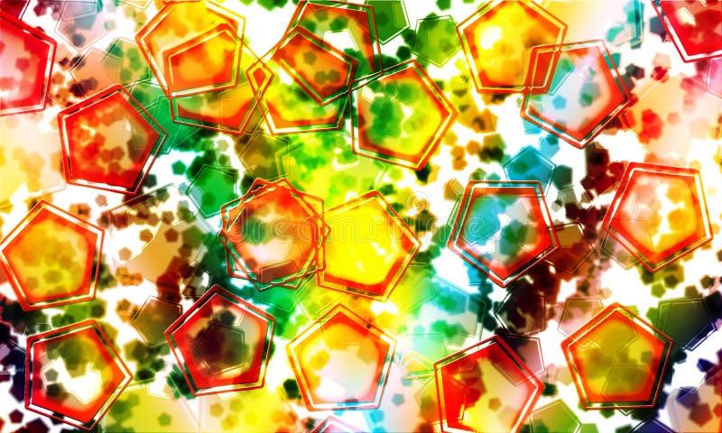 Pentágonos con colores abstractos foto de archivo libre de regalías