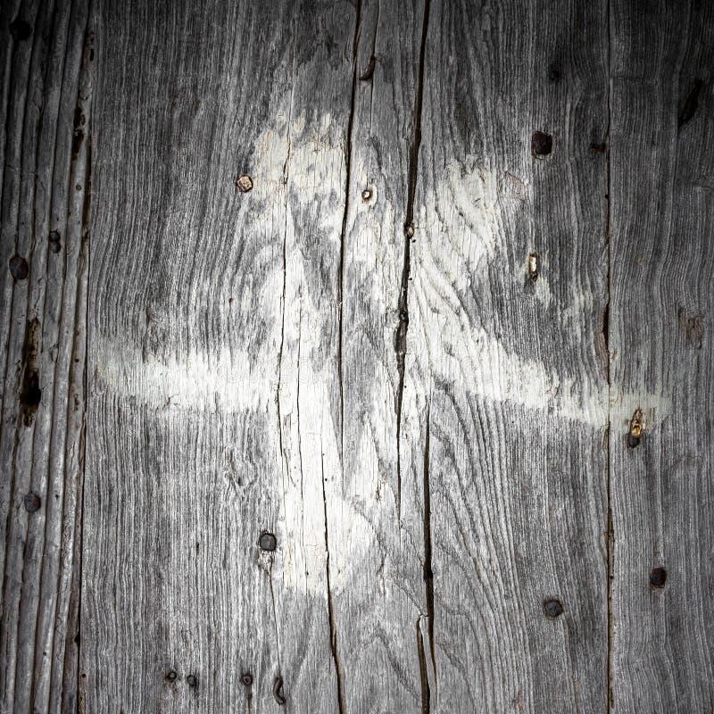 Pentacle branco na madeira imagem de stock