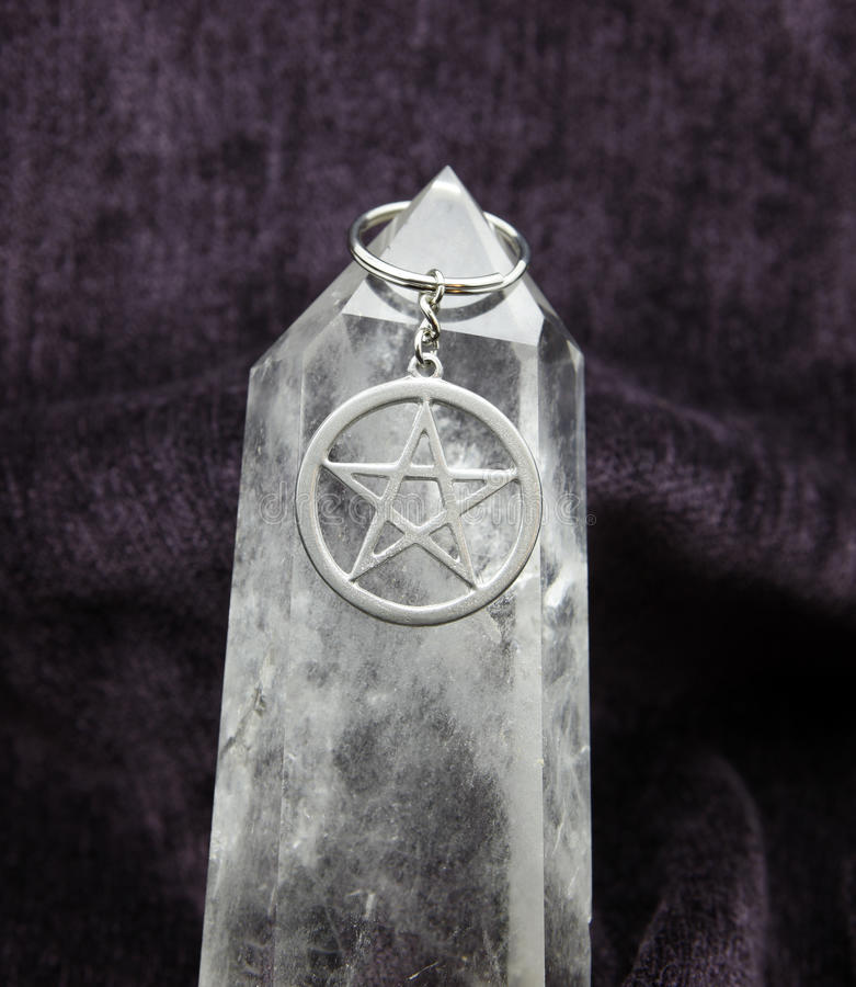 Pentacle on Huge Crystal stock images