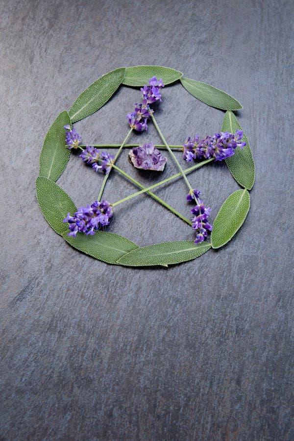 Pentacle, pentagram/- czarownica, Wicca, Pogański symbol robić purpurowi lawendowi kwiatów kolce zielonym mądrym ziele, okrąża op fotografia royalty free
