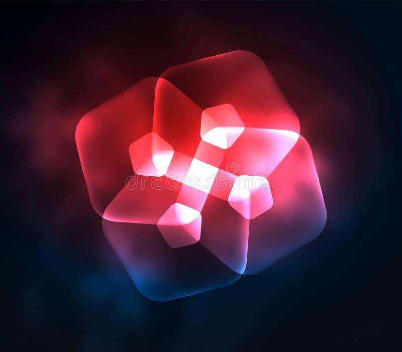 Pentagans transparentes de cristal que brillan intensamente, fondo digital abstracto geométrico stock de ilustración