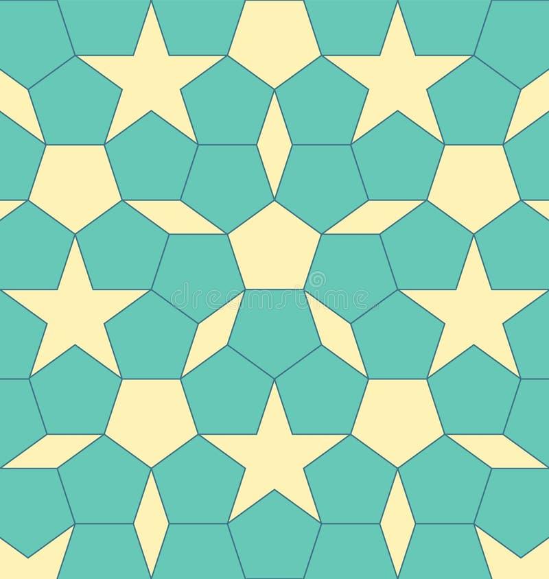 Pentagon geométrico da forma com rombo e estrelas Ilustra??o abstrata do EPS 10 do vetor ilustração stock