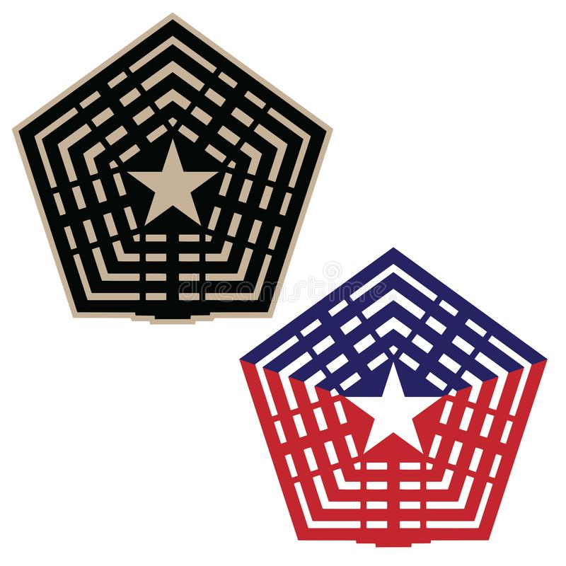 Pentagon vector illustration in black and tan, and red white and blue versions stock illustration