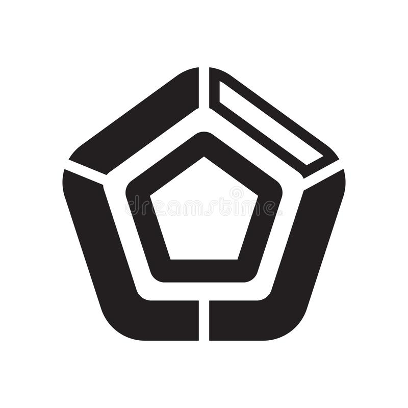 Pentagonal chart icon vector sign and symbol isolated on white b royalty free illustration