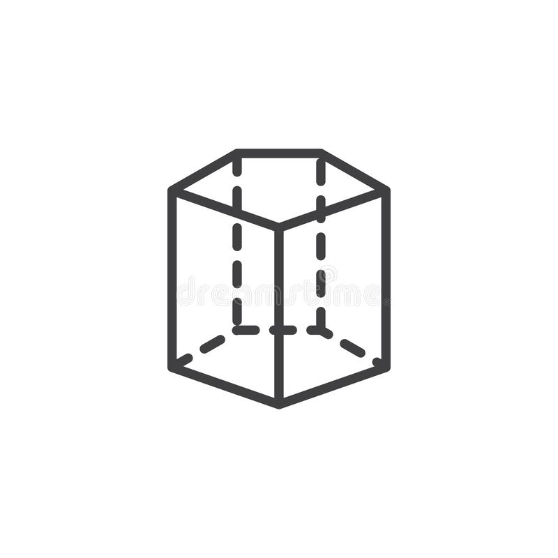 Pentagonal cylinder geometrical figure outline icon. Linear style sign for mobile concept and web design. Cylinder geometric shape simple line vector icon vector illustration