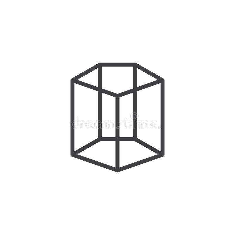 Pentagonal cylinder geometrical figure outline icon. Linear style sign for mobile concept and web design. Cylinder geometric shape simple line vector icon stock illustration