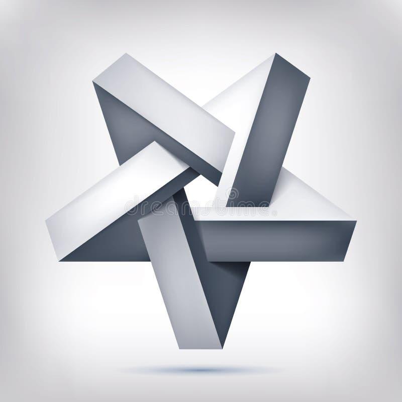 Pentagonale illusiester Vijf-gerichte onwerkelijke vorm, onbestaand meetkundevoorwerp, abstract vectorontwerp vector illustratie