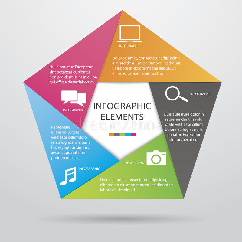 Pentagonale Infographic stock illustratie