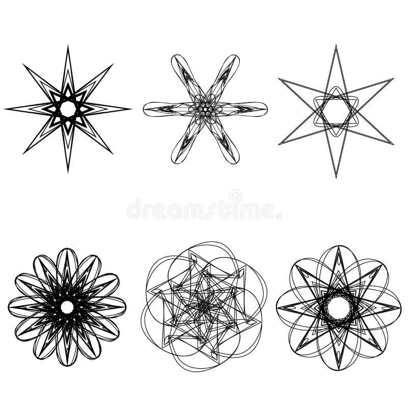Pentagone étoilé réglé de modèle d'icône d'astrologie géométrique d'étoile illustration stock