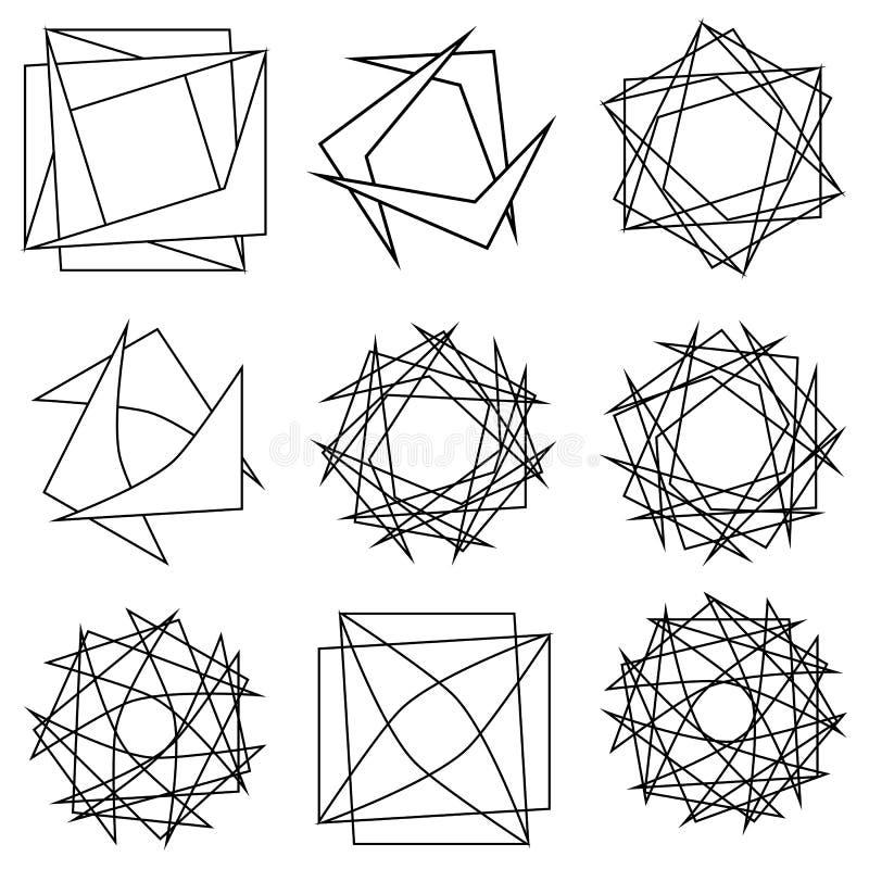 Pentagone étoilé réglé de modèle d'icône d'astrologie géométrique d'étoile illustration de vecteur