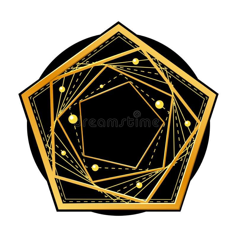 Pentagone d'or sur le cercle noir Illustration de vecteur illustration de vecteur