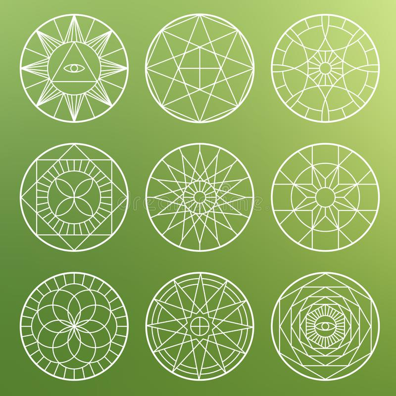 Pentagones étoilés géométriques ésotériques blancs Symboles mystiques sacrés de vecteur de chant religieux illustration de vecteur