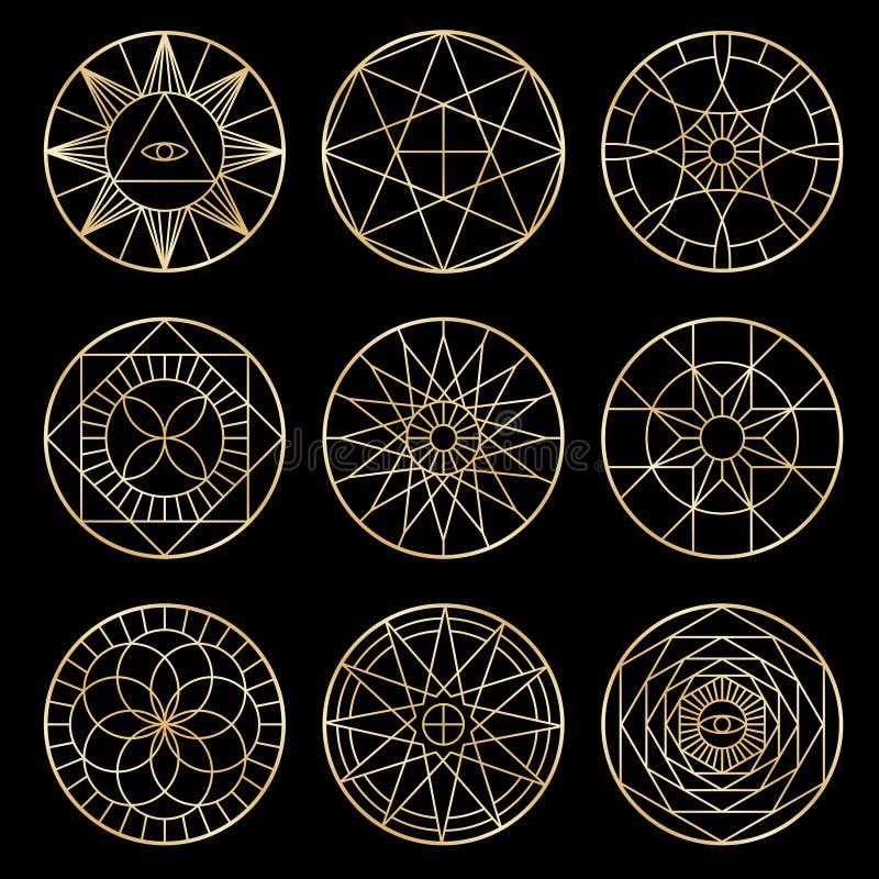 Pentagones étoilés géométriques ésotériques Symboles mystiques sacrés de vecteur de chant religieux illustration de vecteur