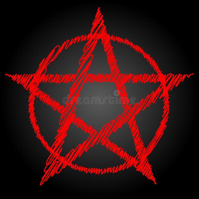 Free Pentagram Blood Red Runic Spell Circle. Satanic Sign, Magic Casting Ring. Pentalpha, Pentangle Stock Photos - 143148013