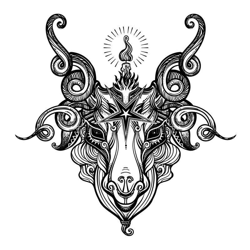 Pentagram en la cabeza del demonio Baphomet Cabeza satánica de la cabra Símbolo satánico binario stock de ilustración