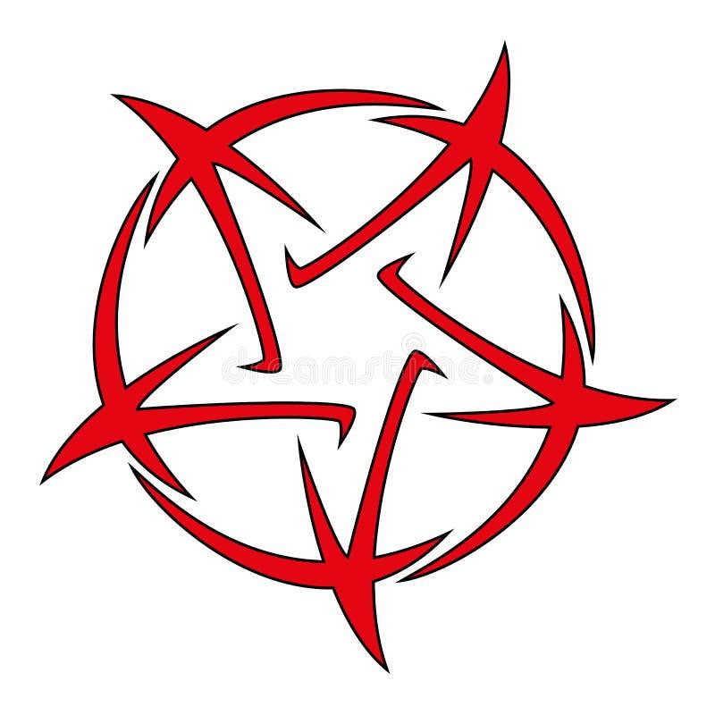 Pentagram - ilustración vectorial del tatuaje estrella de cinco puntas libre illustration