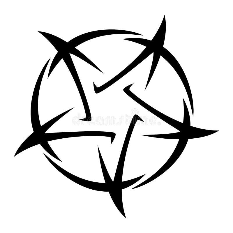 Pentagram - ilustración vectorial del tatuaje estrella de cinco puntas ilustración del vector