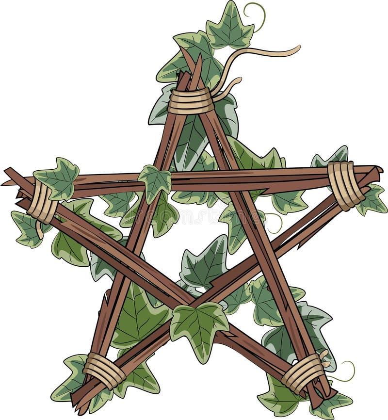 Pentagram ineengestrengelde klimop vector illustratie