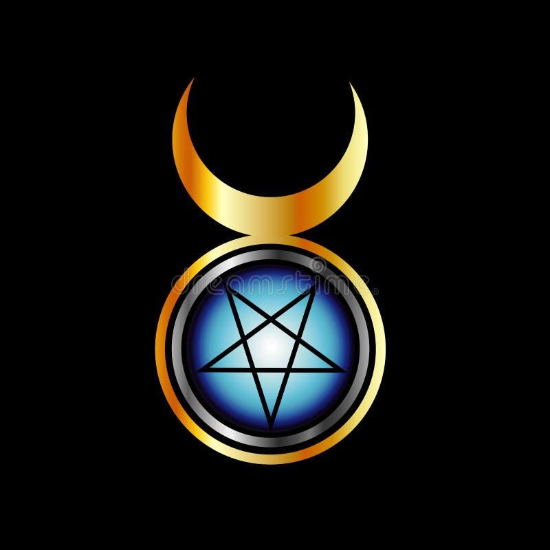 Pentagram invertido con la diosa triple libre illustration