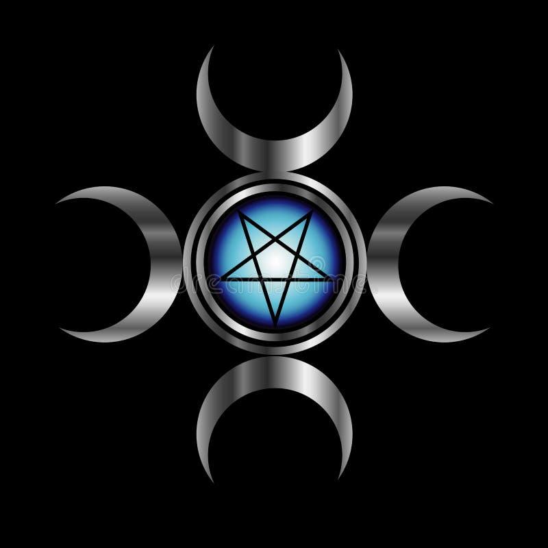 Pentagram invertido con la diosa triple stock de ilustración