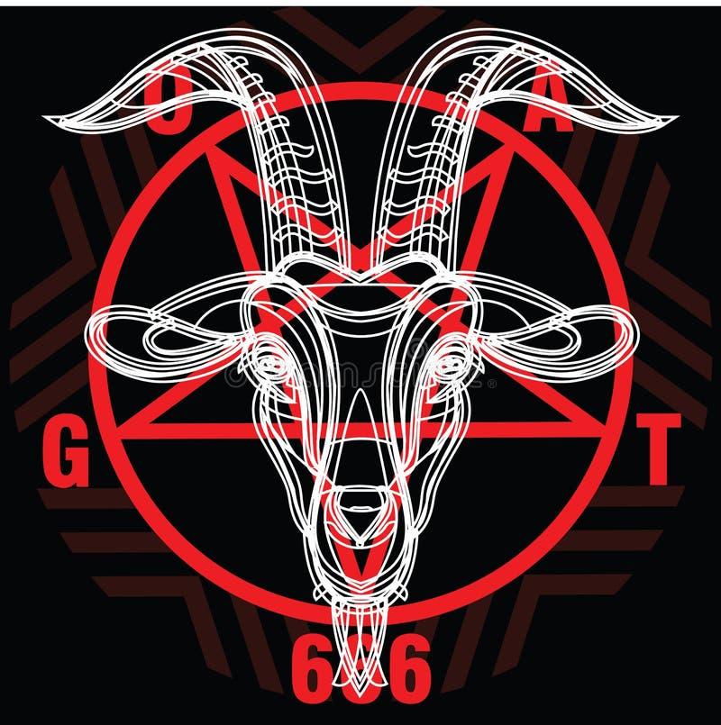 Pentagram met demon Baphomet Demonisch geithoofd royalty-vrije illustratie