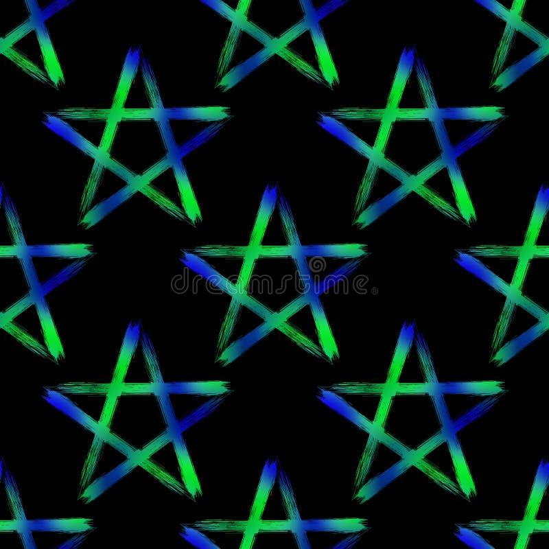 Pentagram Occult Symbol Seamless Pattern Stock Vector Illustration