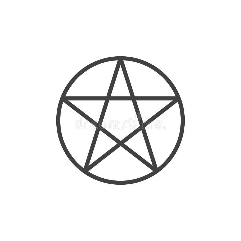 Pentagon Star Logo Design Vector Linear Style . Stock