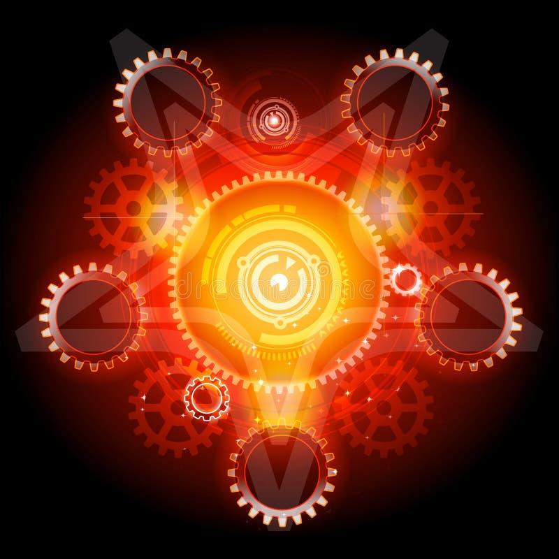 Pentagram rougeoyant de Techno avec des trains illustration stock