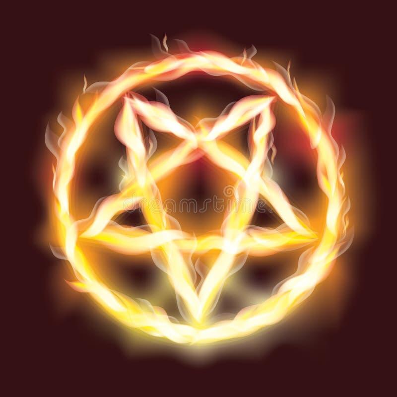 Pentagram satanique d'incendie illustration stock