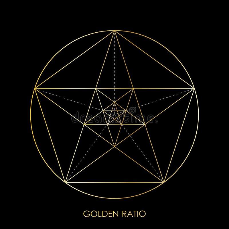 Pentagram star. Golden ratio. Pentagonal star. Golden section.. Fibonacci number. Ideal proportions. Geometric shape. Mathematical concepts. Abstract background stock illustration