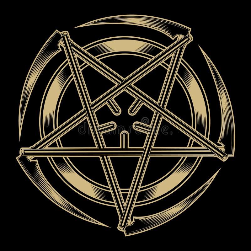 Pentagram van de zeisen stock illustratie