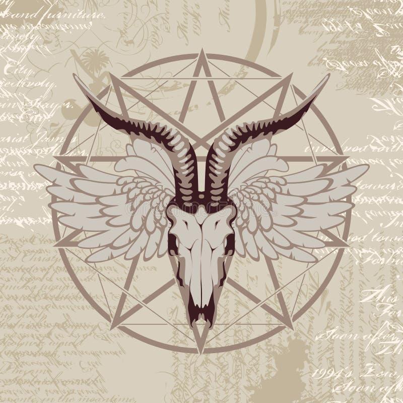 Pentagram z wizerunkiem koźlia czaszka ilustracja wektor