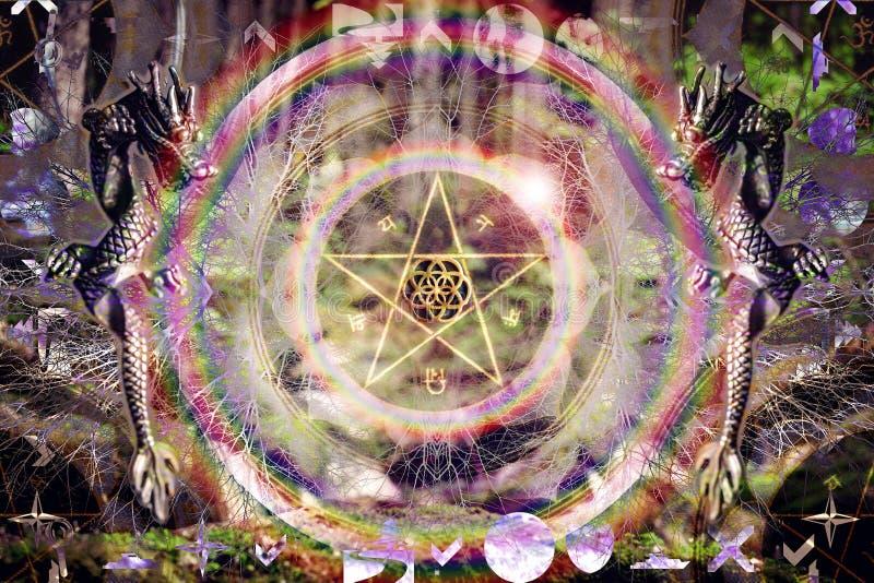 Pentagrama ziarno ?ycie smoka abstrakta mandala royalty ilustracja