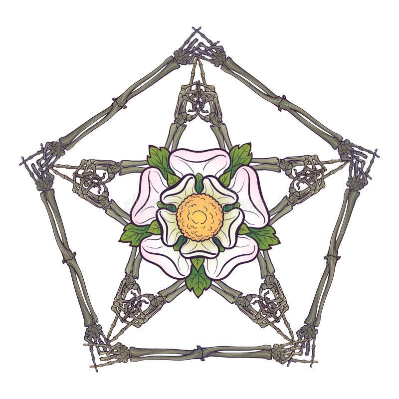 Pentagrame de Halloween Os de main humains disposés dans un ornement occulte gothique complexe avec une fleur rose stylisée dedan illustration stock