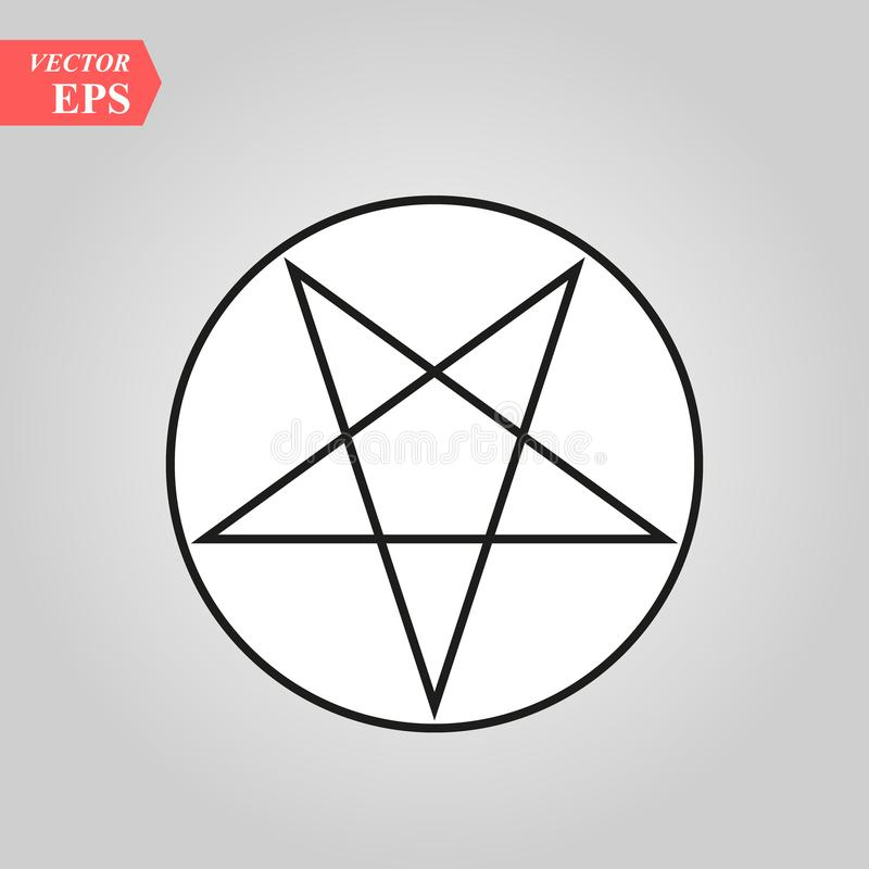 Pentagramikone Getrennte Abbildung Schwarzes auf weißem Hintergrund Dieses ist editable vektorillustration stock abbildung