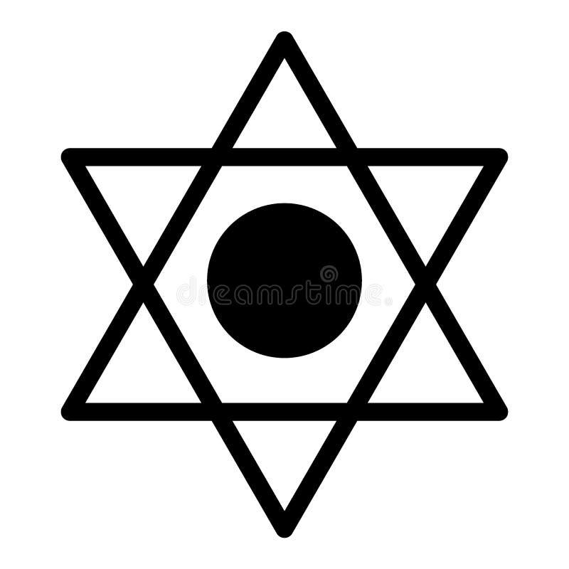 Pentagramkörperikone Sechs gezeigte Sternvektorillustration lokalisiert auf Weiß Davidsstern Glyphartdesign, entworfen stock abbildung