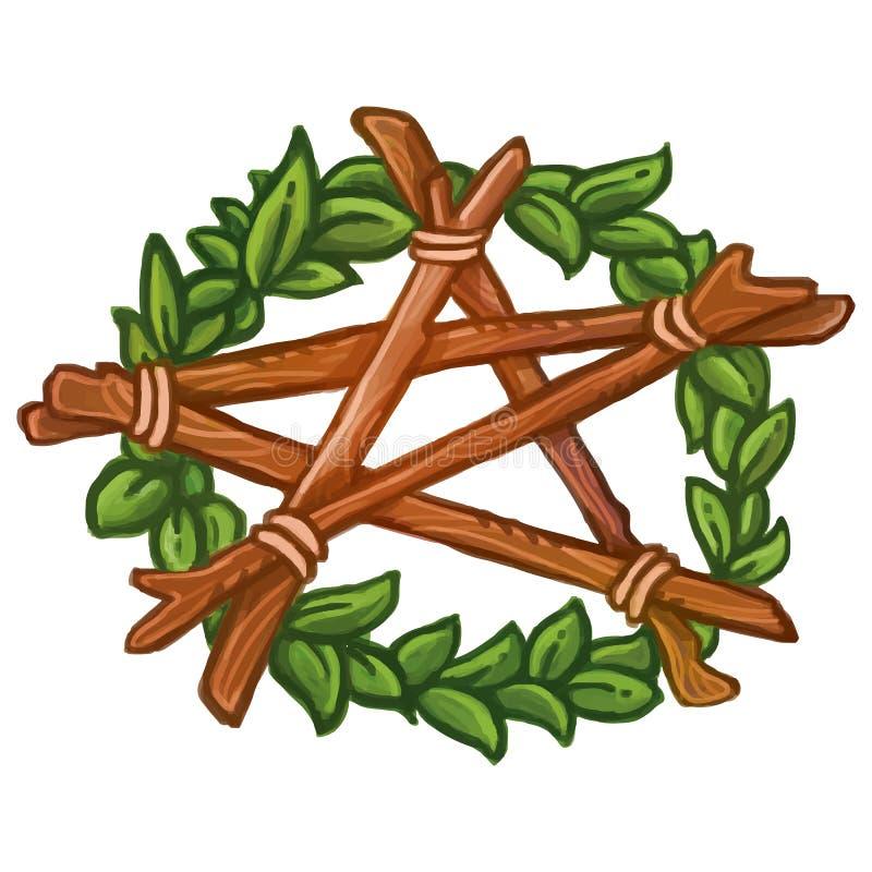 Pentagramkranz mit Efeu und hölzernen stickes Vektorhand gezeichnete Abbildung vektor abbildung