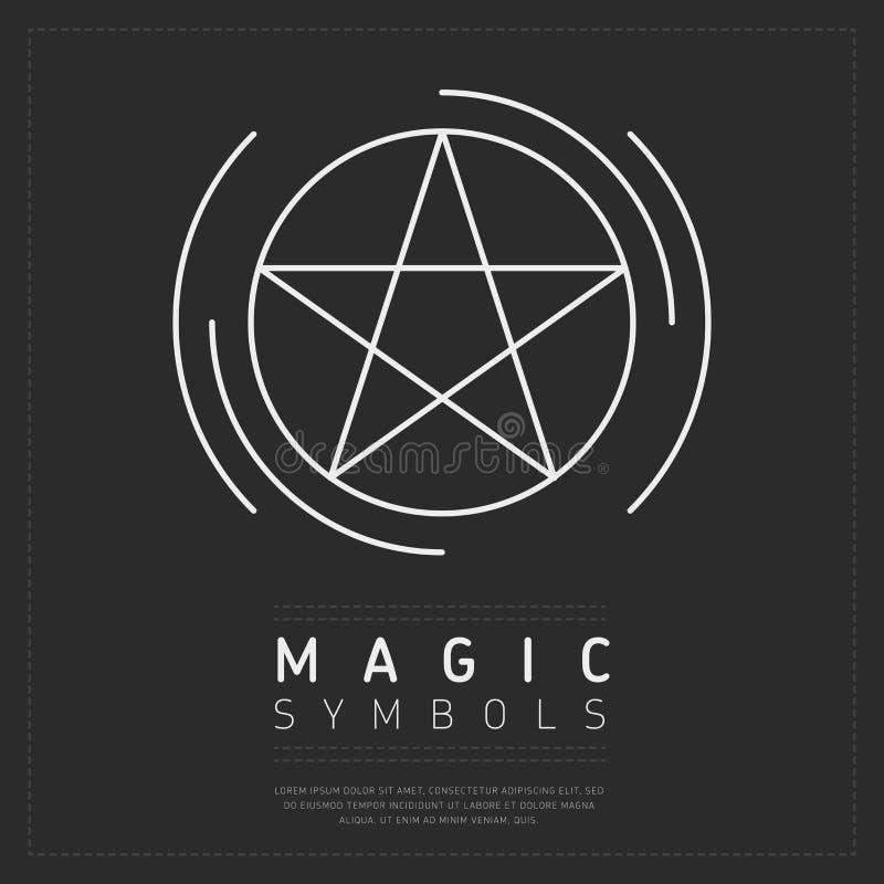 Pentagramsymbol i vita linjer royaltyfri illustrationer