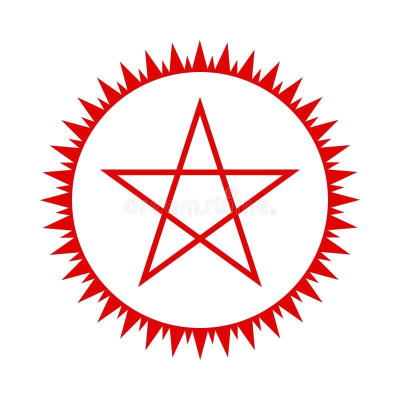 Pentagramsymbol Röd stjärna vektor stock illustrationer