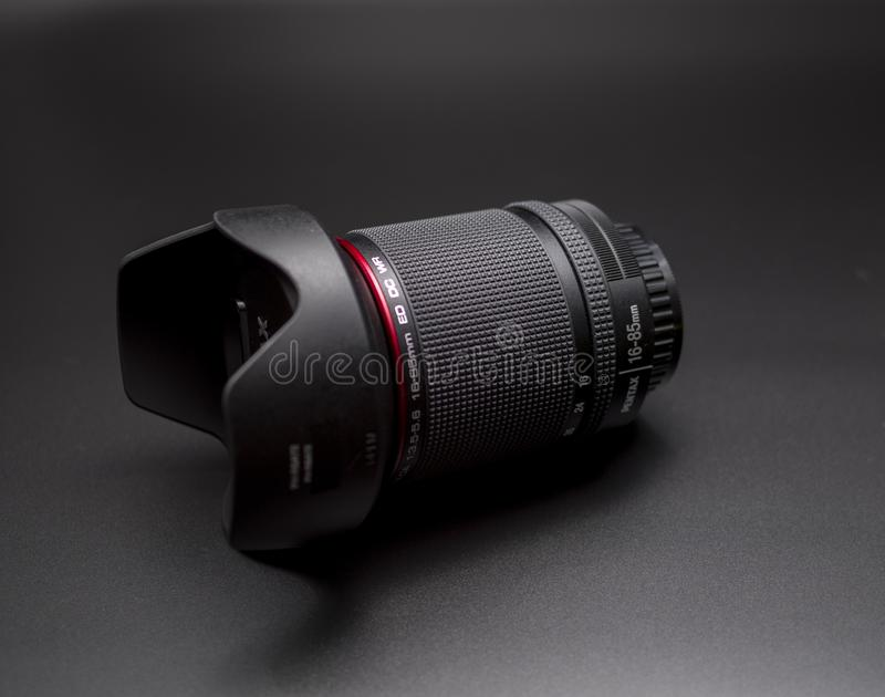 Pentax 16-85 mm lens WR. The Pentax lens Weather resistant only for pentax DSLR monture. Compatible with APS-C cameras royalty free stock photo