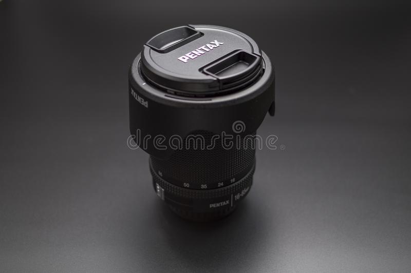 Pentax 16-85mm wide lens WR. The Pentax 16-85 mm Weather resistant lens good for any outdoor pictures all around - wide royalty free stock image