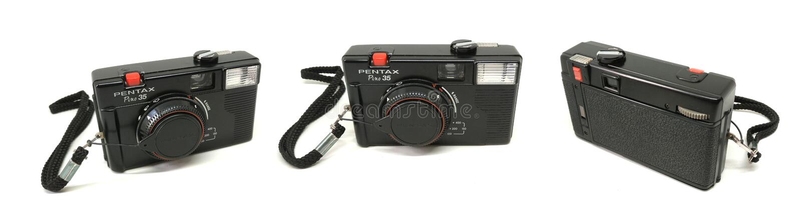 Pentax Pino 35. BANGKOK, THAILAND - MARCH 20, 2017 : Pentax Pino 35 camera isolated on white background royalty free stock photography