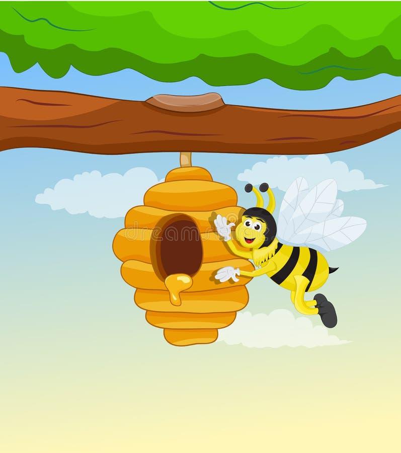Pente do mel na árvore e na abelha ilustração stock