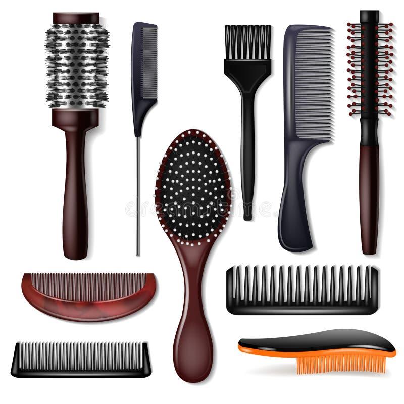 Pente do penteado do vetor da escova de cabelo ou acessório da escova de cabelo e do haircare no grupo da ilustração do salão de  ilustração do vetor
