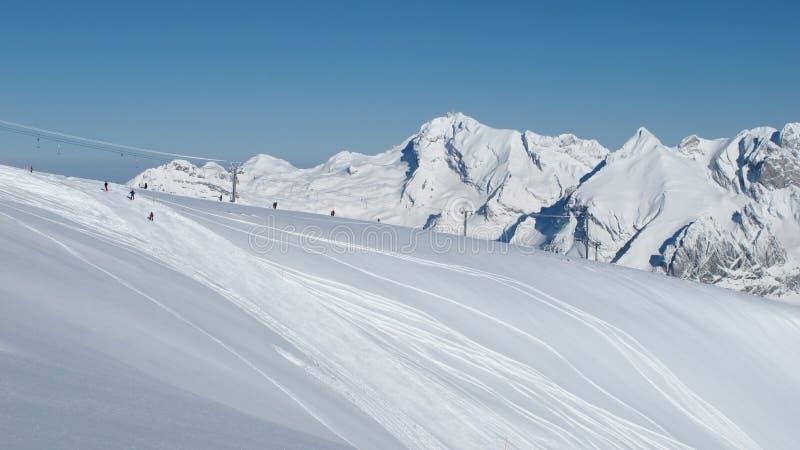 Pente et Mt Saentis de ski photos libres de droits