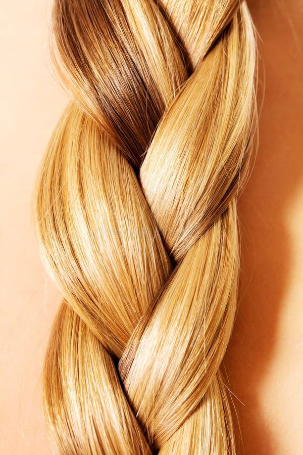 Penteado da trança Fim longo louro do cabelo acima fotografia de stock royalty free