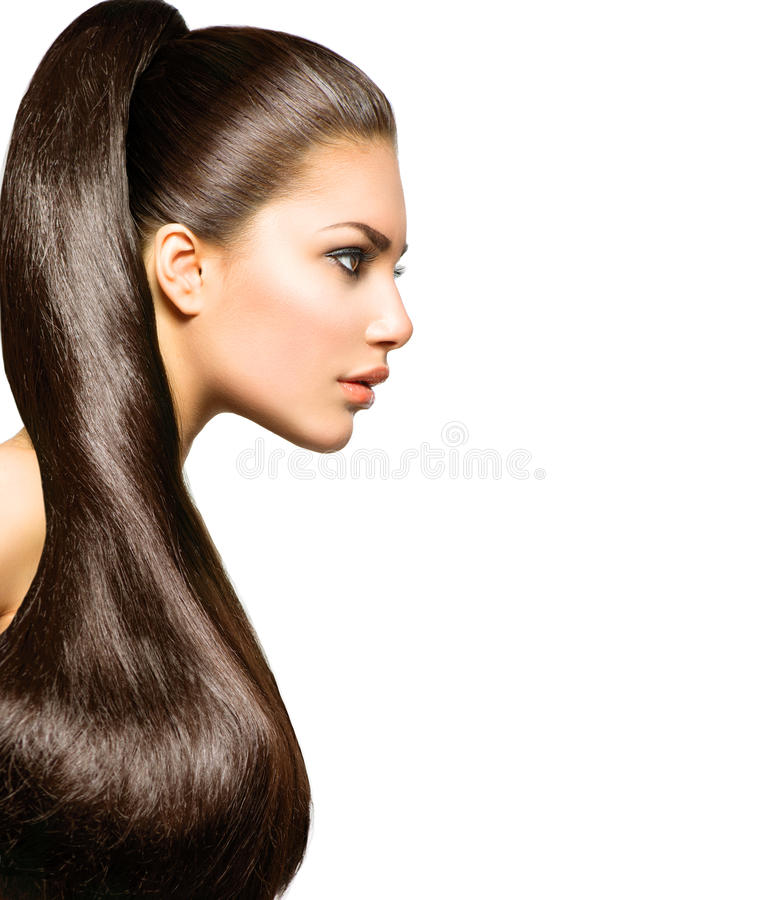 Penteado do rabo de cavalo Beleza com cabelo marrom longo fotos de stock royalty free